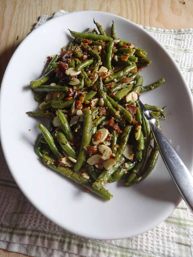 Green Beans Almondine Recipe with bacon