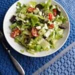 Mediterranean salad in white bowl