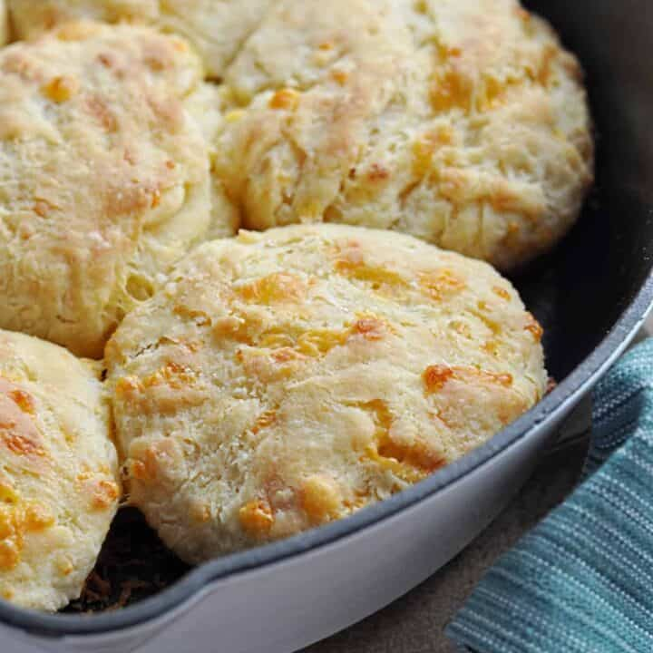 Cheddar cheese biscuits in pan