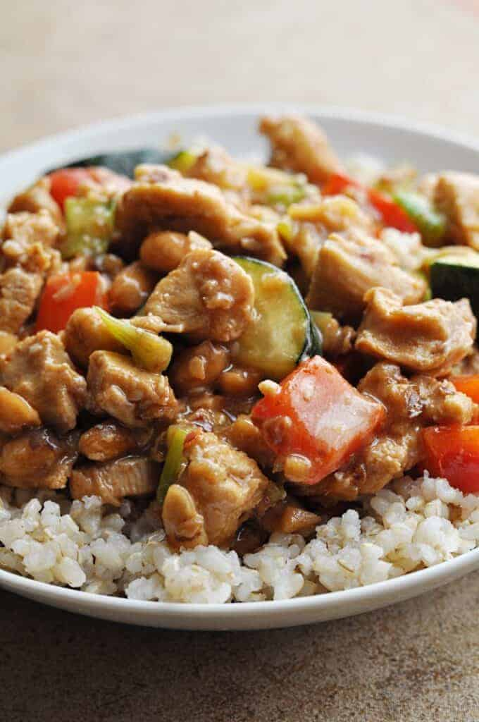 Panda Express Kungpao Chicken copycat recipe over rice