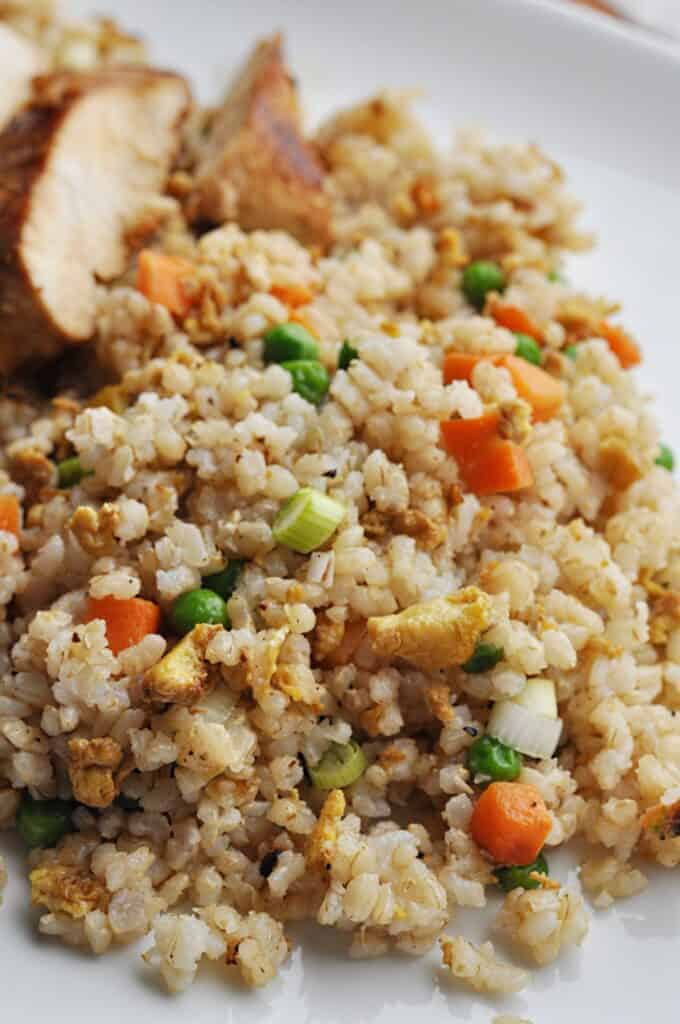 Fried rice on plate with chicken