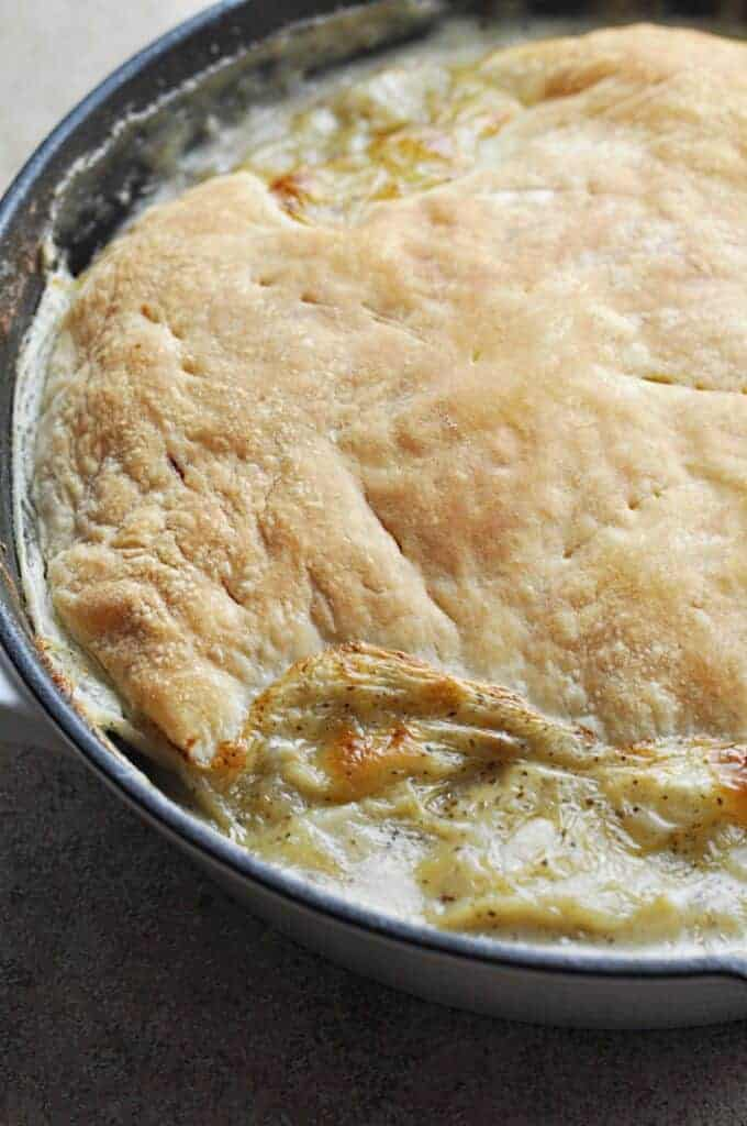Ham & Leek pie in pan