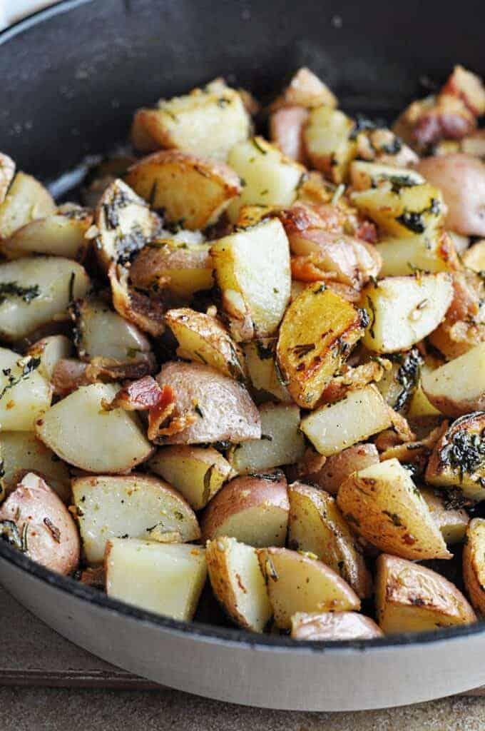 Potatoes in cast iron pan