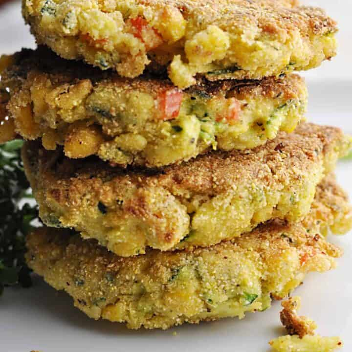 Corn Zucchini Fritters with red peppers and cheese