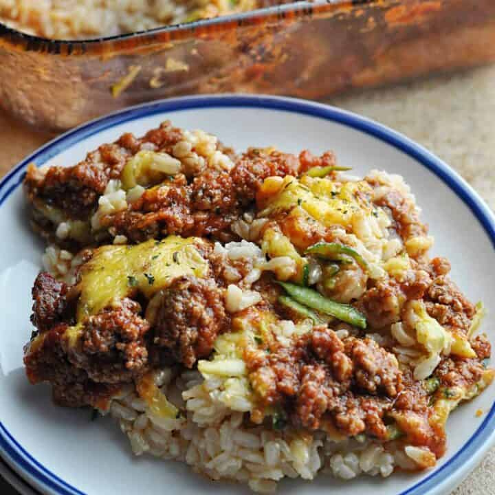 Ground Beef Rice Casserole with Zucchini on plate