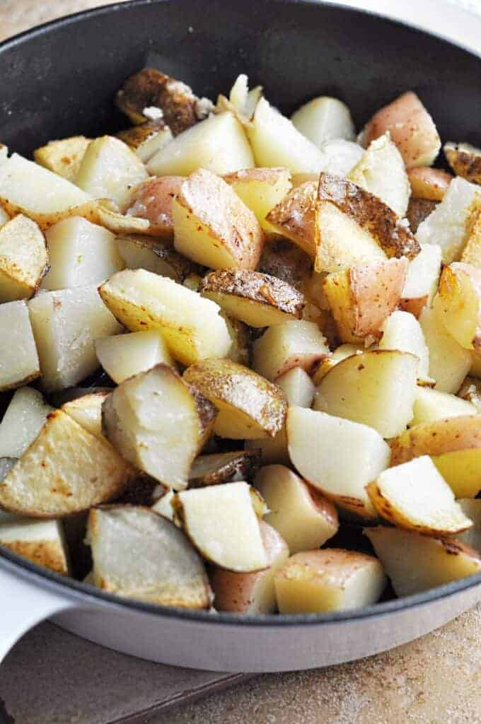 Fried Potatoes ready for ranch and bacon and cheese