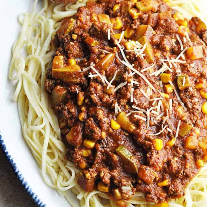 Zucchini Meat Sauce over linguini
