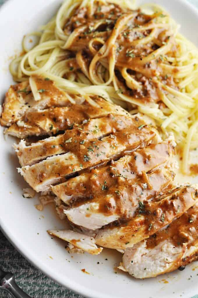 Chicken and Pasta with garlic butter sauce