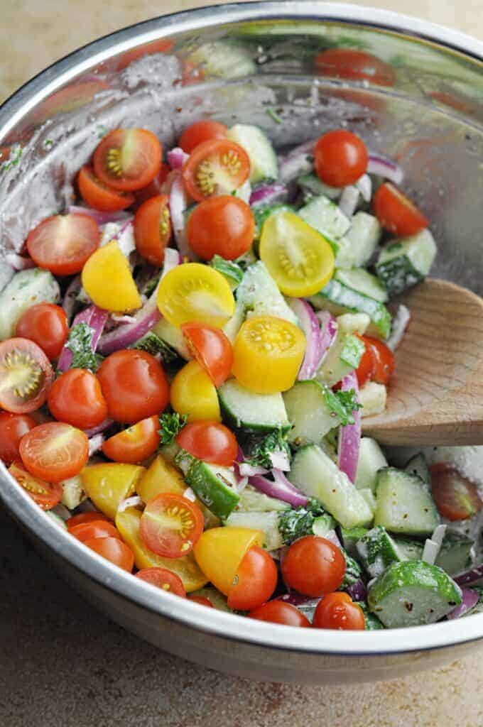 Cucumber and Tomato Salad Ingredients