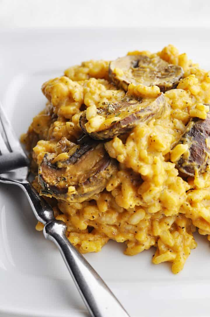 Closeup of pumpkin risotto with mushrooms