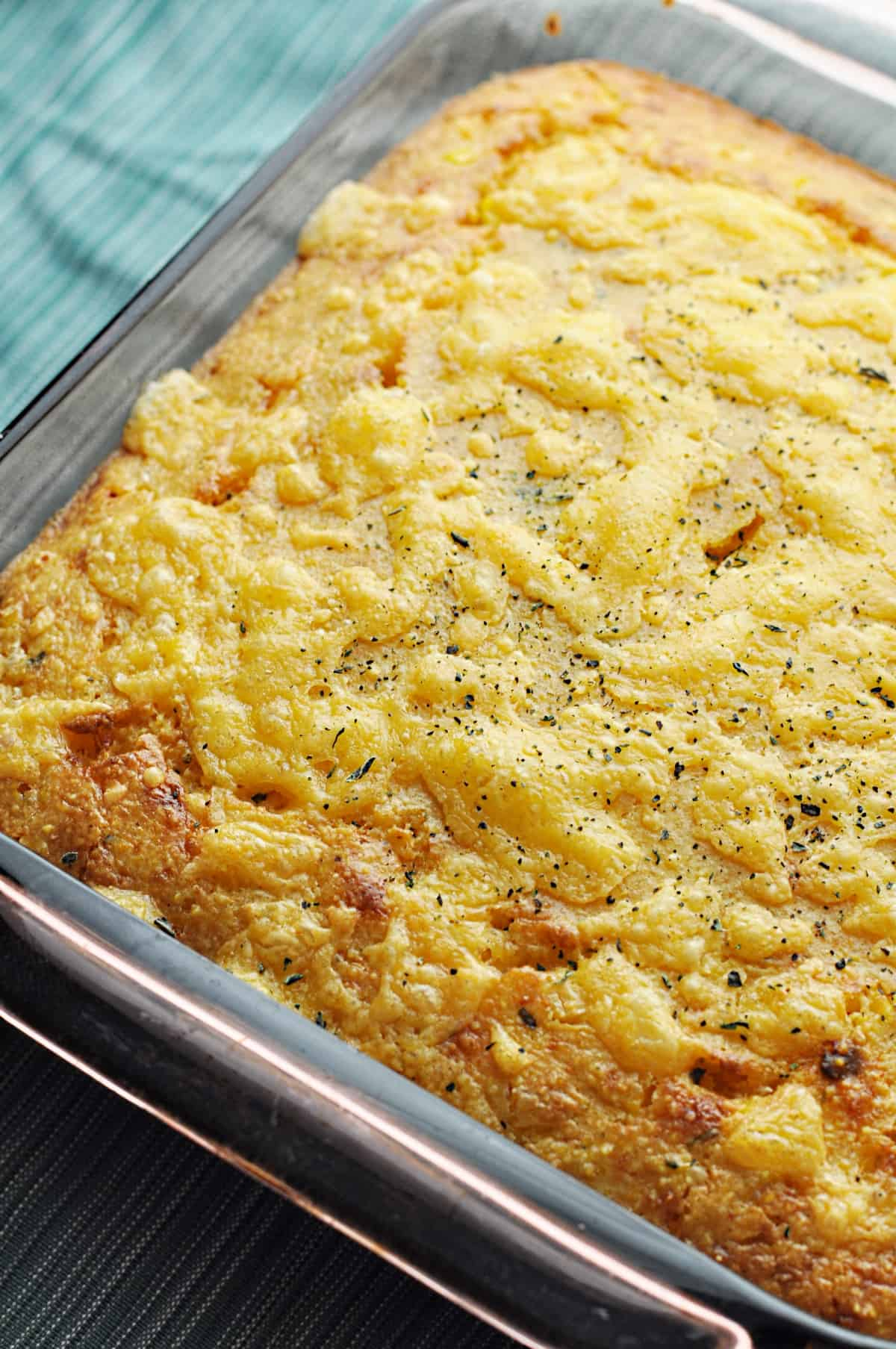 Corn casserole fresh from the oven
