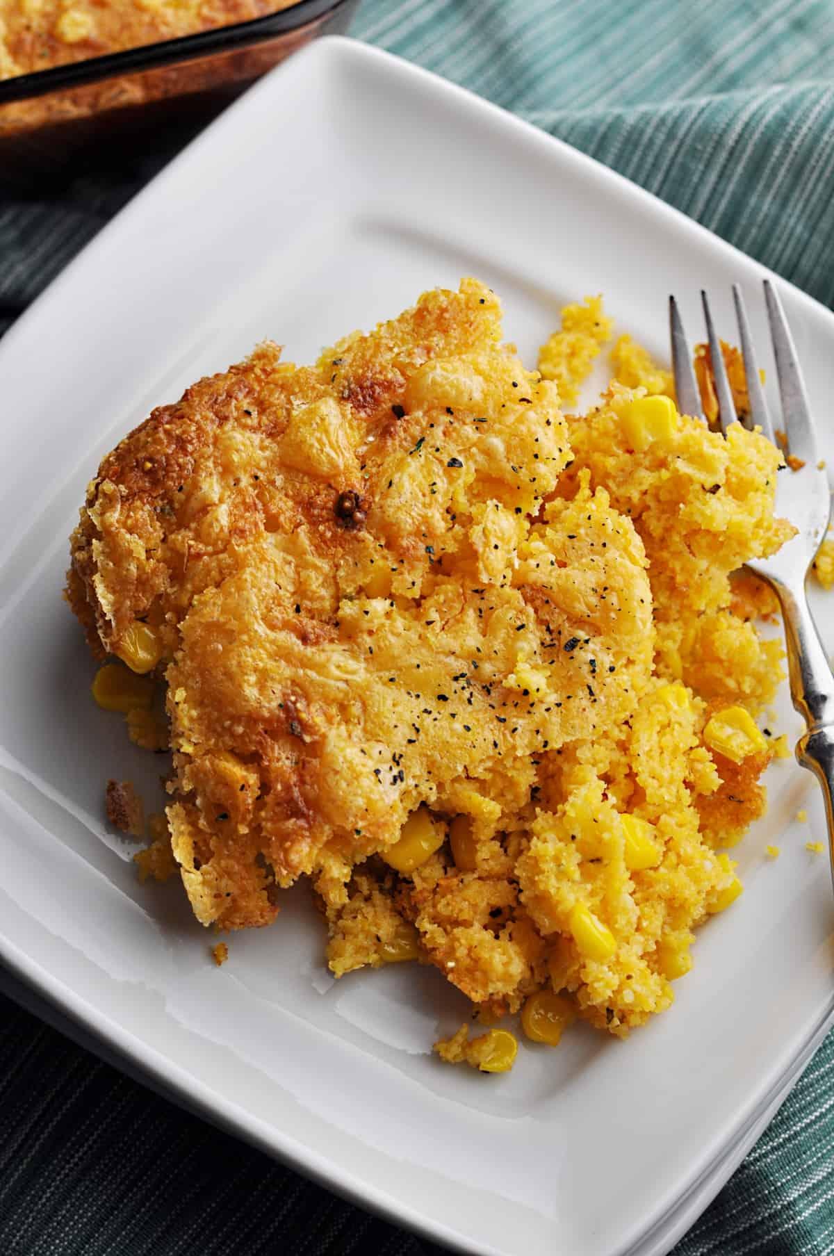 Baked cornbread casserole on plate
