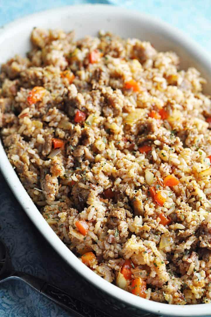 Rice with sausage and veggies