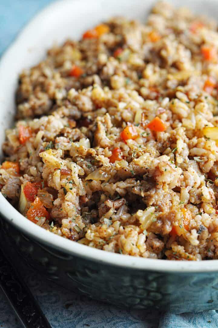 Dirty rice recipe closeup in serving bowl