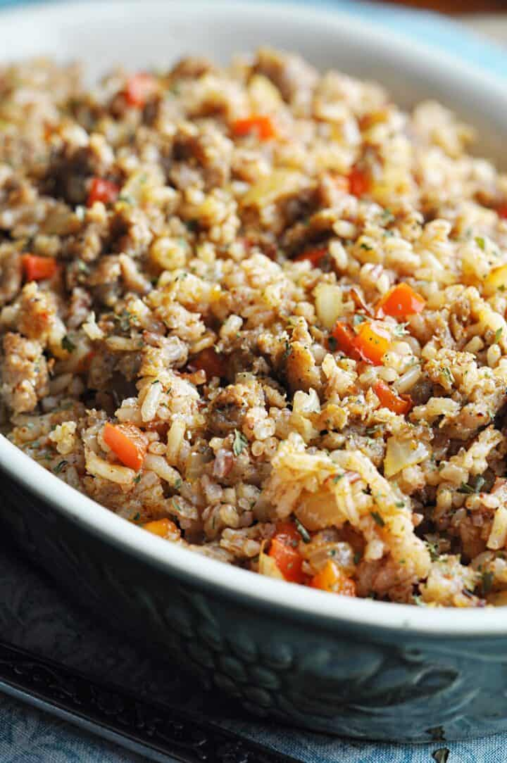Dirty Rice in serving bowl