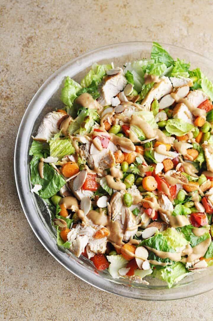 Spicy Thai Chicken Salad in bowl