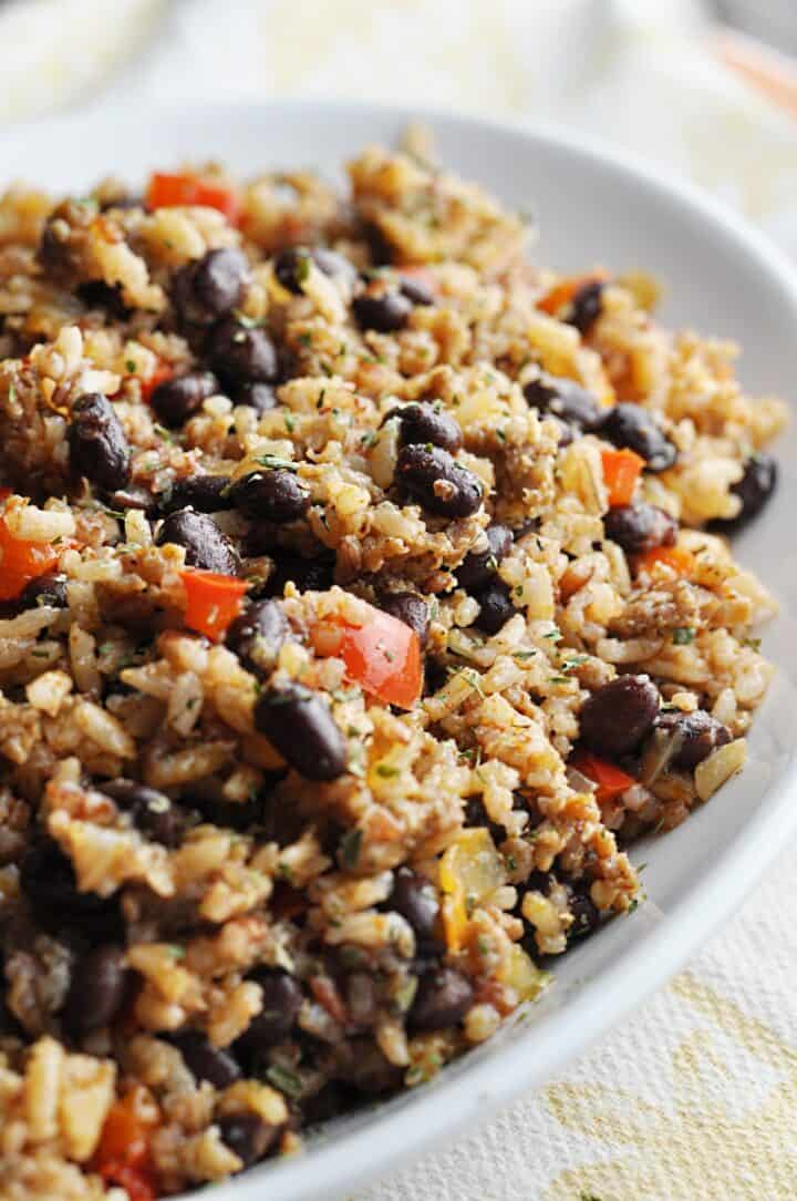 Rice with Sausage and black beans on plate
