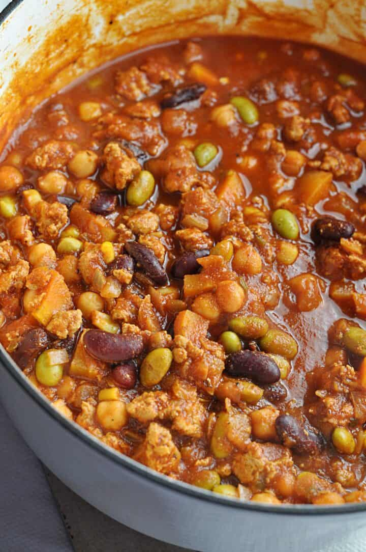 Making Panera Chili with turkey and beans