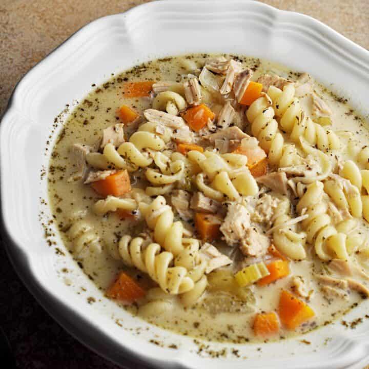 Creamy turkey noodle soup recipe in bowl