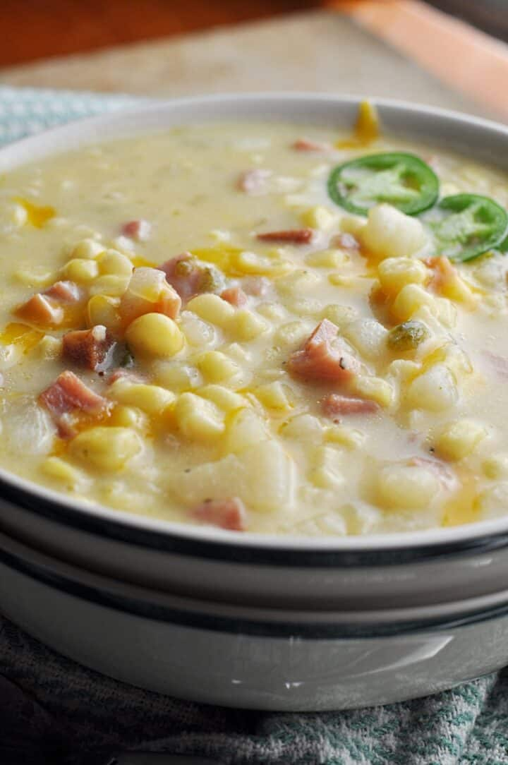 Ham potato soup with corn and jalapenos