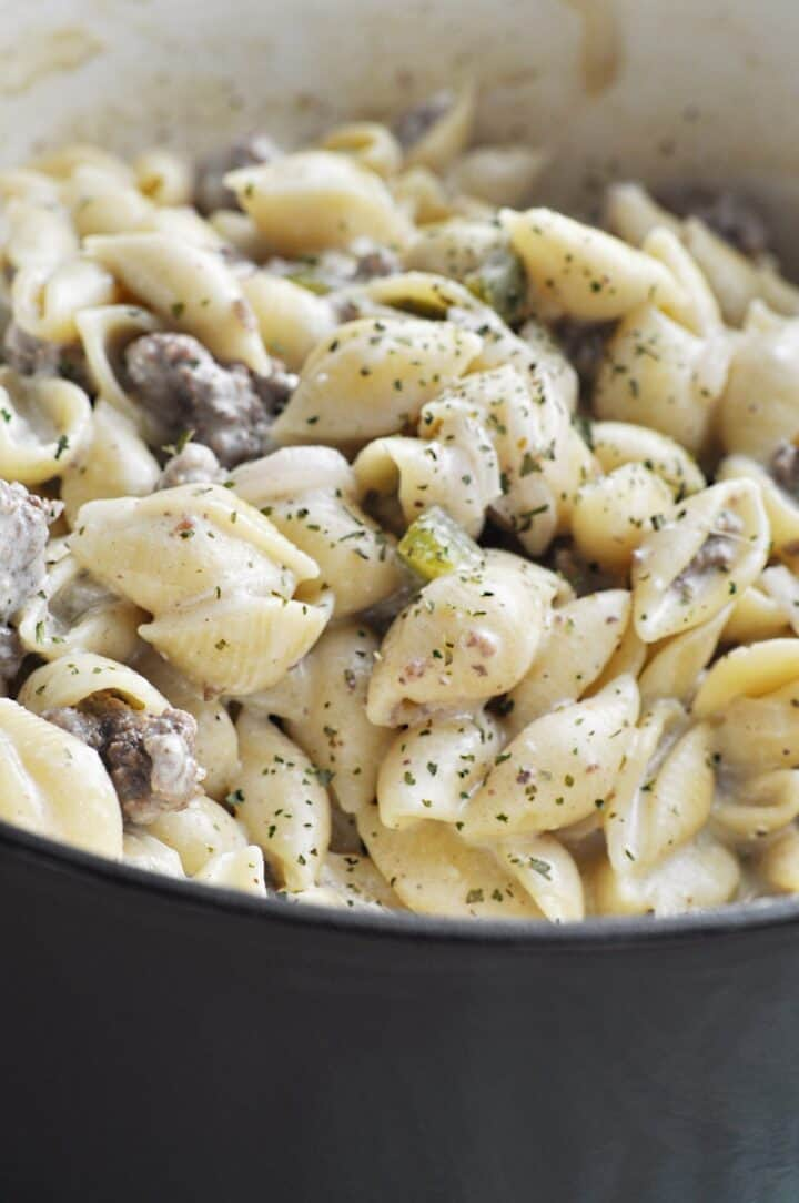 Cheesesteak Pasta Dish cooking