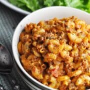 Spicy ground beef with pasta