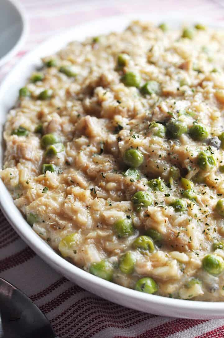 Tuna Rice Casserole with peas