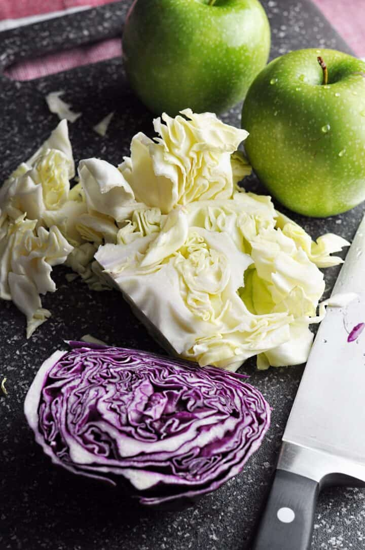 Cabbage and green apples for slaw