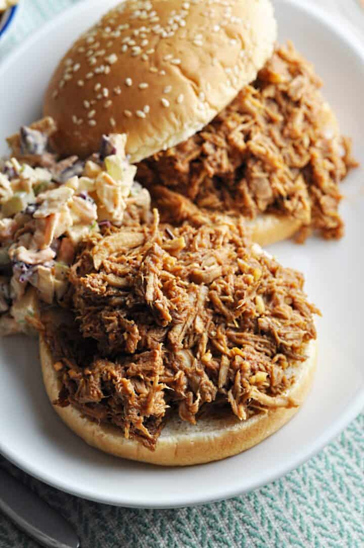 Pulled Pork on bun with side of coleslaw