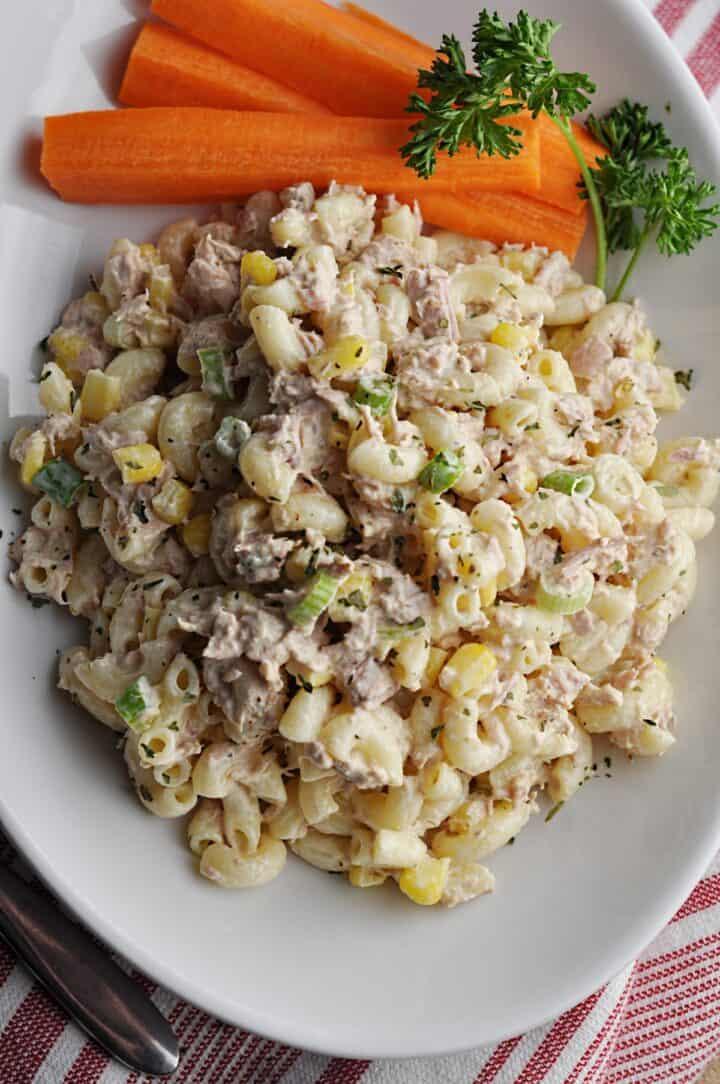 Overhead image of tuna pasta salad