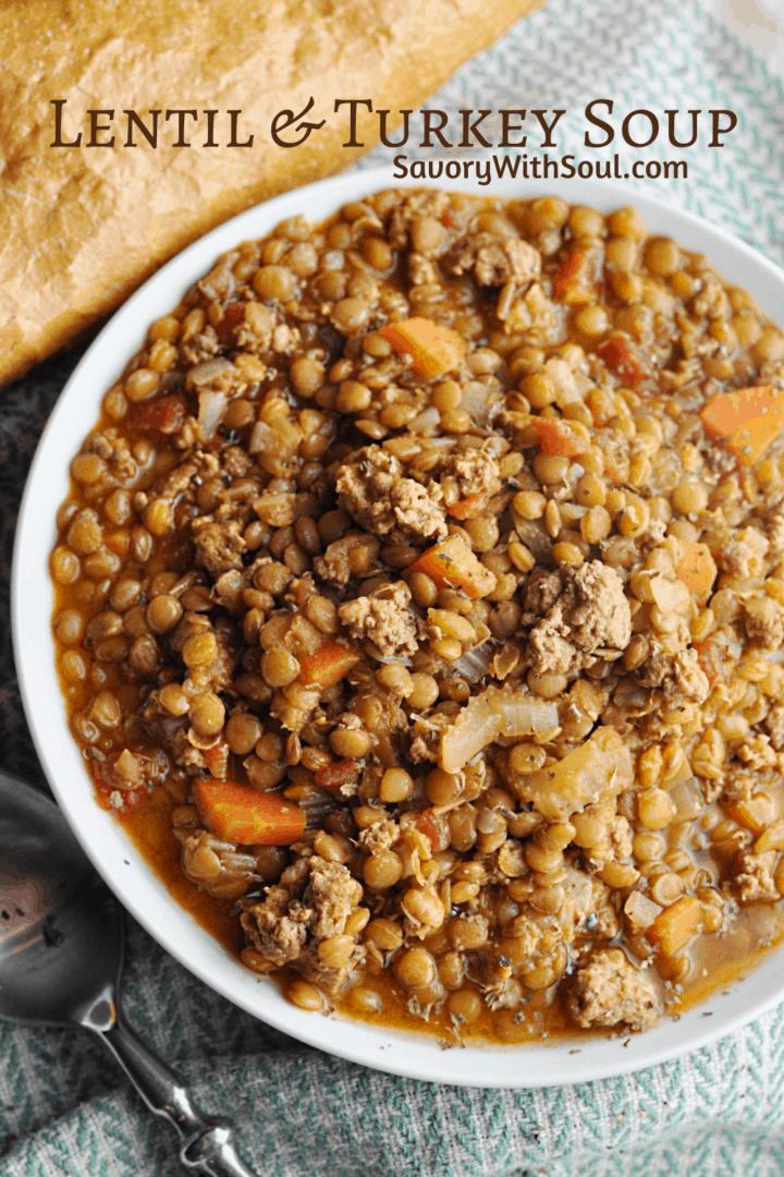 Pin for lentil turkey soup